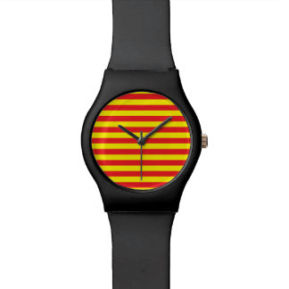 Yellow and Red Horizontal Stripes Wristwatch