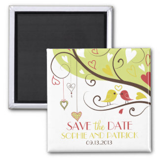Yellow and Red Lovebirds Save the Date Magnet