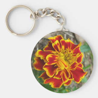 Yellow and Red Marigold Close Up Basic Round Button Keychain