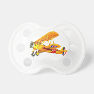 Yellow and Red Military Training Biplane Flying Pacifier