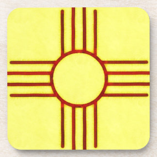Yellow And Red New Mexico Zia Coaster