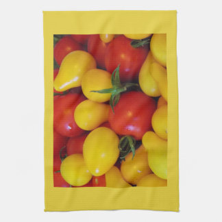 Yellow and Red Pear Tomatoes Kitchen Towel