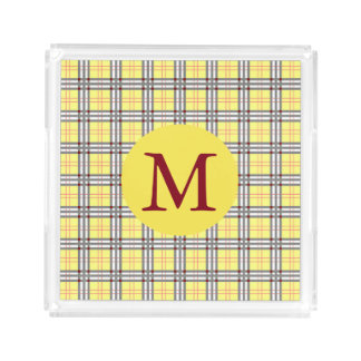 Yellow and Red Plaid Tartan Pattern Monogram Acrylic Tray