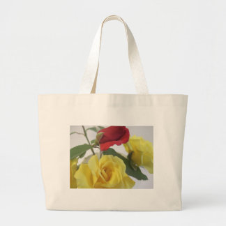 Yellow and Red Roses Large Tote Bag