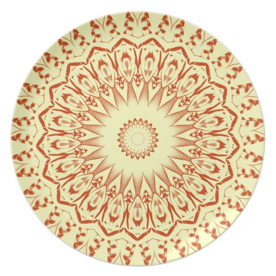 Yellow and Red Southwestern Design Plate