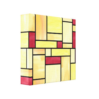 Yellow and Red Stained Glass (12x12) Canvas