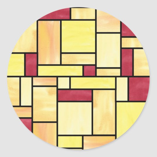 Yellow and Red Stained Glass Stickers