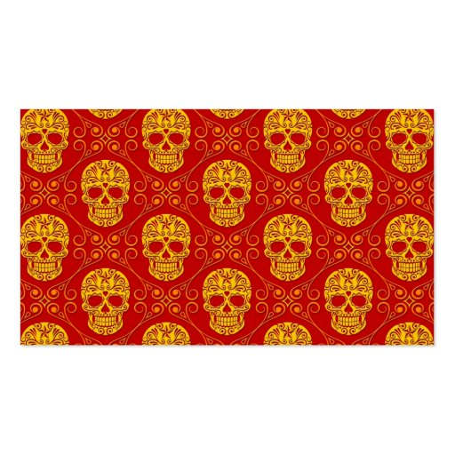 Yellow and Red Sugar Skull Pattern Business Card
