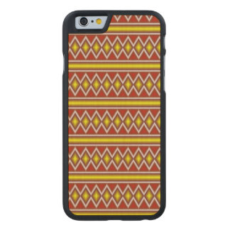 Yellow and red tribal pattern carved maple iPhone 6 case