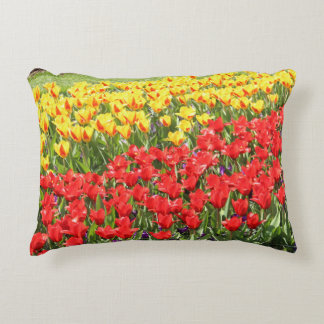 Yellow and Red Tulips Accent Pillow