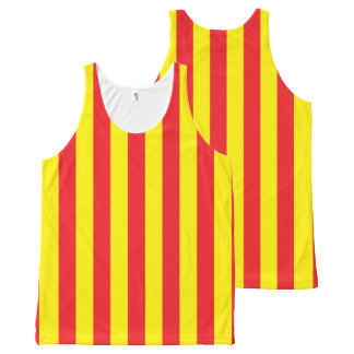 Yellow and Red Vertical Stripes All-Over-Print Tank Top
