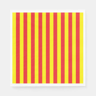 Yellow and Red Vertical Stripes Disposable Napkins