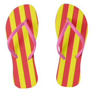 Yellow and Red Vertical Stripes Flip Flops