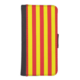 Yellow and Red Vertical Stripes iPhone SE/5/5s Wallet Case