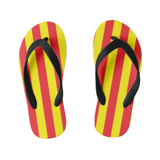 Yellow and Red Vertical Stripes Kid's Flip Flops