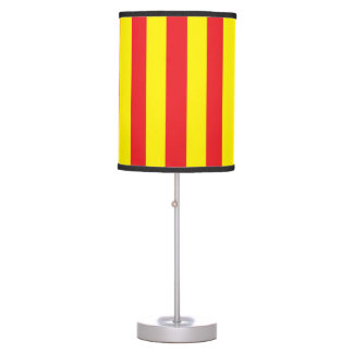 Yellow and Red Vertical Stripes Table Lamp