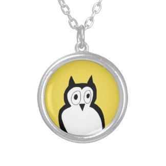 Yellow and silver owl necklace. silver plated necklace