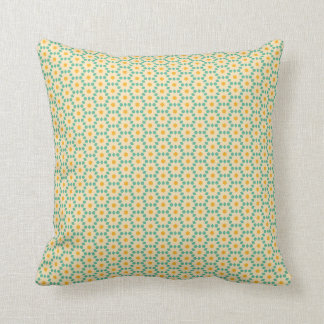 Yellow and teal geometric pillow