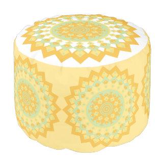 Yellow and Teal Mandala Pouf