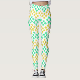 Yellow and Teal Snowflakes Leggings