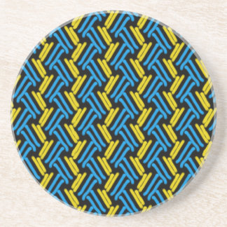 Yellow and Turquoise Tribal Chevron Pattern Coaster
