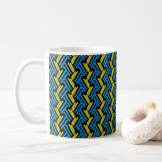 Yellow and Turquoise Tribal Chevron Pattern Coffee Mug