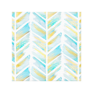 Yellow and Turquoise Watercolor Boho Print