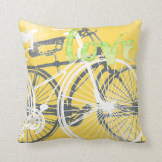 Yellow and White Bicycle Love Pillow