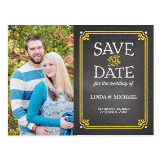 Yellow and White Chalkboard Photo Save the Date Postcard