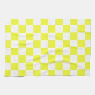 Yellow and White Checkerboard Pattern Kitchen Towel