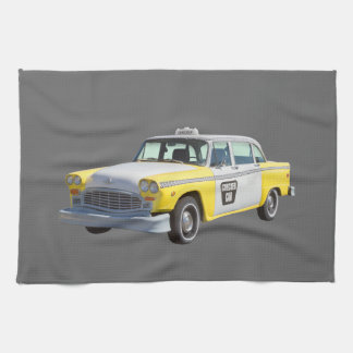 Yellow and White Checkered Taxi Cab Kitchen Towel