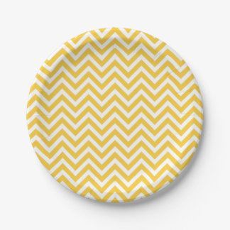 Yellow and White Chevron 7 Inch Paper Plate
