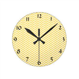 Yellow and White Chevron Pattern Round Clock
