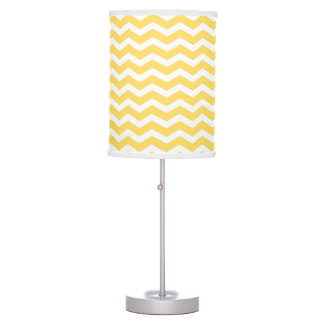 Yellow and White Chevron pattern Table Lamp