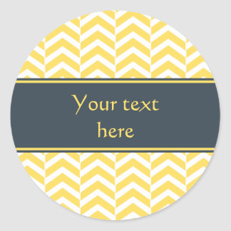 Yellow and White Chevron with Charcoal Classic Round Sticker
