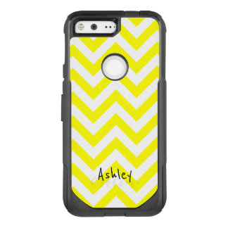 Yellow And White Chevron With Custom Name OtterBox Commuter Google Pixel Case
