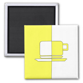 Yellow and White Cup Magnet