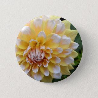 Yellow and White Dahlia 2 Inch Round Button