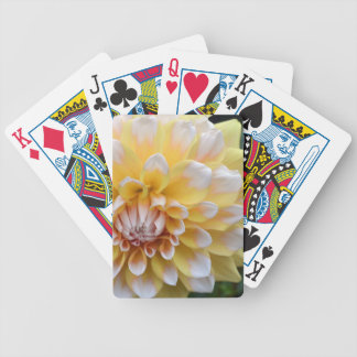 Yellow and White Dahlia Bicycle Playing Cards