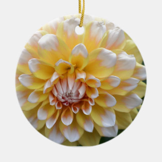 Yellow and White Dahlia Ceramic Ornament