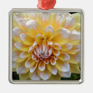 Yellow and White Dahlia Metal Ornament