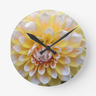 Yellow and White Dahlia Round Clock