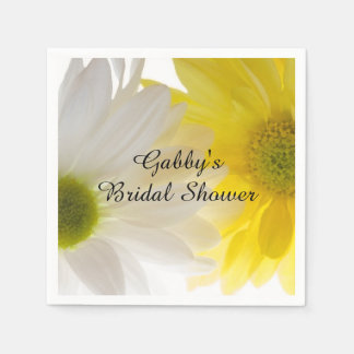 Yellow and White Daisies Bridal Shower Disposable Napkins