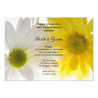 Yellow and White Daisies Post Wedding Brunch Card