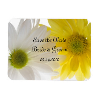 Yellow and White Daisies Wedding Save the Date Magnet