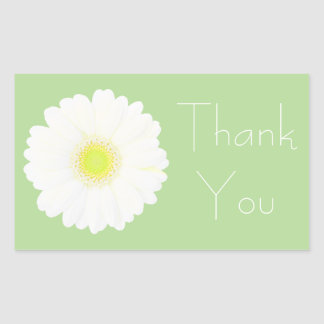 Yellow and White Daisy on Pale Green Thank You Sticker