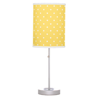 Yellow and white delicate polka dot table lamp