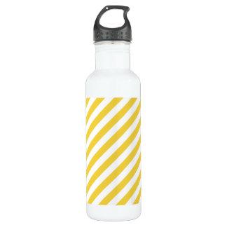 Yellow and White Diagonal Stripes Pattern 710 Ml Water Bottle