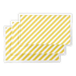 Yellow and White Diagonal Stripes Pattern Acrylic Tray