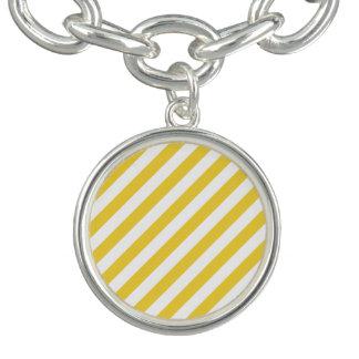 Yellow and White Diagonal Stripes Pattern Bracelets
